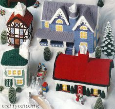 Crochet Cottages Crochet Pattern Book 5 House Home Cabin Tissue Box Covers   eBay