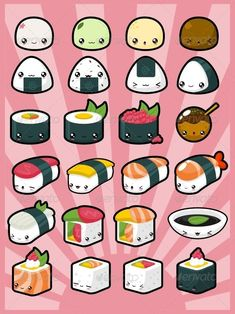 Kawaii Japanese Sushi and Other Snackies :D Cute Food Drawings, Cute Kawaii Drawings, Cute Animal Drawings, Cartoon Drawings, Easy Drawings, Realistic Drawings, Food Kawaii, 365 Kawaii, Stickers Kawaii