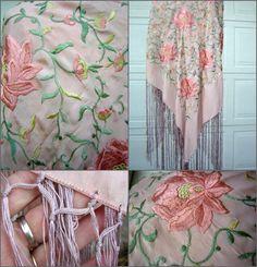 Vintage Antique Pink Silk Piano Shawl - Embroidered - Lotus Peony Design -  Long Fringe. f2c7b419df