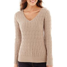 St. John's Bay® Long-Sleeve V-Neck Cable Sweater  found at @JCPenney