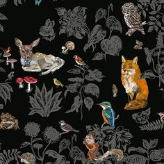 wild black wallpaper by Nathalie Lete Tier Wallpaper, Animal Wallpaper, Fabric Wallpaper, Black Wallpaper, Forest Wallpaper, Beautiful Wallpaper, Print Wallpaper, Wallpaper Schwarz, Nursery Wallpaper
