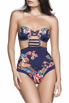 This beautiful one piece is the perfect mix of retro and modern looks! We love the flattering high waist mixed with the multiple cut outs! The classic floral and bird print set against a navy blue background completes this darling piece! Ties in back Removable neck straps The underwire top fits best on a 34B to 34C Hand wash - see Care Instructions on tag for complete details.   Bendito Birds Swimsuit by Agua Bendita. Clothing - Swimwear - One-Piece Los Angeles, California
