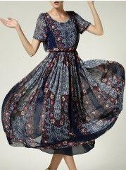 Elegant Round Neck Printed Maxi-dress
