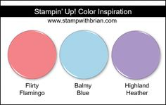 Stampin' Up! Color Inspiration - Flirty Flamingo, Balmy Blue, Highland Heather