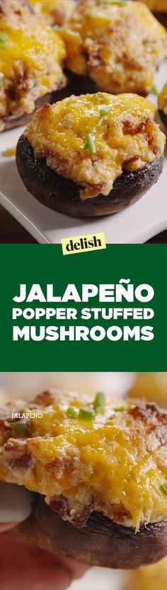 These jalapeño popper stuffed mushrooms are the most brilliant app mash-up ever. Get the recipe on Delish.com.