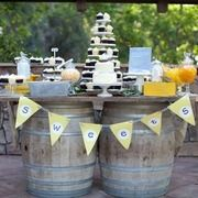#dessert #table on #barrels for a #country/ #rustic or #wine themed #wedding