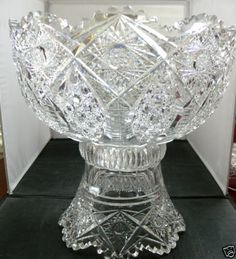 ABP-CUT-GLASS-OUTSTANDING-12-INCH-TALL-HEAVY-SHARPLY-CUT-BRILLIANT-PUNCHBOWL $450