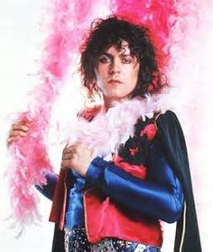 marc bolan - GLAM ROCK 1975 - make up, feather boa, satin, nails painted
