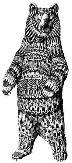 Black & White Patterned Bear
