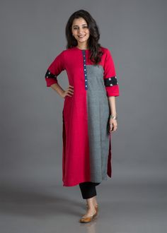 From the City of Nizams, Hyderabad, the bold and beautiful Ikat weaves will never go out of trend. The soft and supple fabric in Sambhalpuri and Pochampally patterns styled in sleek designs are a wardrobe-essential. Salwar Suit Neck Designs, Kurta Neck Design, Kurta Designs Women, Salwar Designs, Dress Neck Designs, Blouse Designs, Simple Kurti Designs, Kurta Cotton, Kurta Patterns
