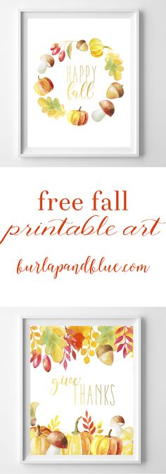 free fall printable art! two designs in watercolor oranges, yellows and reds. Perfect for your fall home decor or mantle!