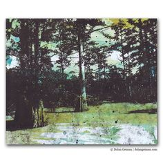 A photo of cypress trees in a bayou, shot during art fair travels, translated into a screenprint on wood panel. Gift for the outdoors enthusiast or