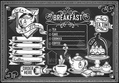 Vintage Graphic Element for Menu on Blackboard
