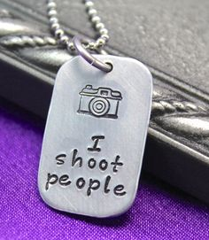 I shoot people necklace, photography jewelry, hand stamped jewelry, photographer's necklace, Camera necklace  $15.00