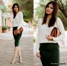 Hunter Green pencil skirt,  white sweater & camel clutch.