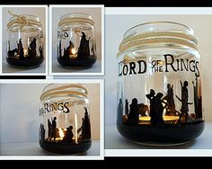 paint jar to diy candle holder lord of the rings crafts great for halloween gift