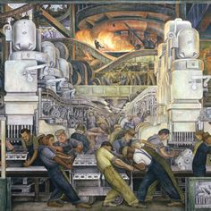 Detroit Industry Murals Production and Manufacture of Engine and Transmission, Detroit Industry, North Wall Automotive Panel, detail Diego Rivera. Diego Rivera Art, Diego Rivera Frida Kahlo, Painting Prints, Wall Art Prints, Frida E Diego, Fine Art Amerika, Mexican Artists, Arte Popular, Art Mural