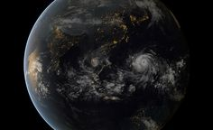 Super Typhoon Haiyan almost looks serene from 22,000 miles above earth. This is a combination of images from Japanese and European weather satellites, on Nov. 7, 2013, at 13:00 UTC, around local midnight. These satellites are in geostationary orbits