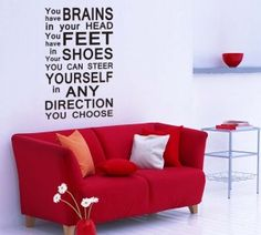 Wall Decal Steer in Direction You Choose Dr Seuss Dr Seuss Wall Decals, Creative Wall Decor, Traditional Wallpaper, Unique Presents, Decorating Your Home, Vinyl Decals, Your Design, Inspiration, Budget