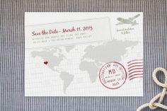 A Faraway Destination Save the Date Postcards by bumble ink at minted.com