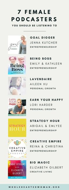 7 Female Podcasters You Should Be Listening To Personal Growth & Development Life Advice Entrepreneurship Podcasts #helpPersonalDevelopment
