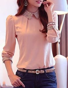 Women Fashion Sweet Elegant Chiffon Blouse (More Colors) – EUR € Blouse Styles, Blouse Designs, Look 2015, Work Fashion, Fashion Design, Fashion Fashion, Minimalist Fashion, Blouses For Women, Korean Fashion
