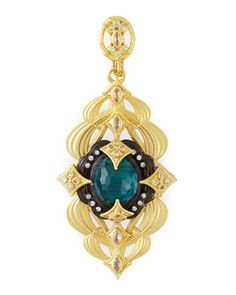 Double-Scroll Malachite/London Blue Topaz Enhancer by Armenta at Neiman Marcus Last Call.