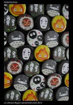 Studio Ghibli 6 Button Set by pookatdinocrafts on Etsy, $6.00