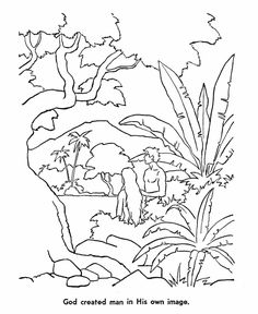 Adam eve bible story colouring page the creation story for Adan y eva en el jardin del eden