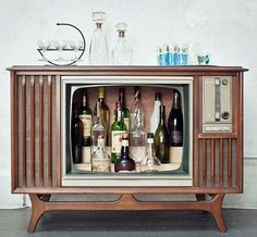 Retro TV drinks cabinet - repurposed furniture - why not an aquarium? Or ... Endless possibilities.