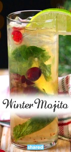 Who ever said you could only enjoy a Mojito on a beach? Celebrate the winter months, Mojito-style with this Winter Mojito.  With the refreshing taste of cranberry, mint and lime, you will be able to picture yourself on a warm sandy beach, with your Santa hat on.
