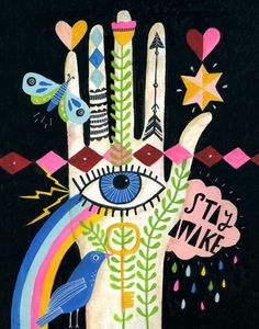 I'm in love this Artsy Etsy Gift Guide! Especially this Stay Awake Art Print by Lisa Congdon Art And Illustration, Frida Art, Posca Art, Arte Popular, How To Stay Awake, How To Make Notes, Psychedelic Art, Grafik Design, Art Design