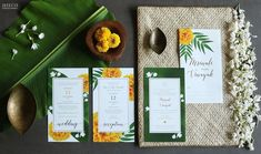 An elegant South Indian wedding invite with marigolds, jasmines and banana leaves along with gold foil pressing on handmade paper. Traditional Indian Wedding, Indian Wedding Invitations, Banana Leaves, Gold Foil, Invite, Weddings, Bride, Elegant, Create