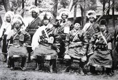 Amdo Officials, Labrang, Eastern Tibet, c.1930′s Newark Museum Archive – With Large Gau Amulet Boxes