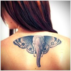 Awesome Elephant Tattoo Designs: Wing Butterfly Elephant Tattoo Designs For Women On Back ~ Tattoo Design Inspiration