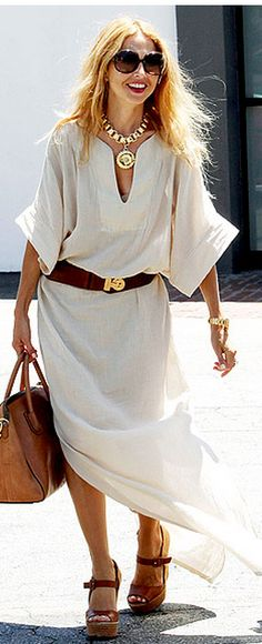 Who made  Rachel Zoe's brown wedge sandals, v neck maxi dress, brown handbag and gold necklace that she wore in West Hollywood?