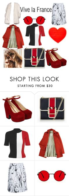 """""""Retro blue blanc rouge"""" by misswednesday ❤ liked on Polyvore featuring Pilot, Tommy Hilfiger, Solace, Karen Walker, Derek Lam and ban.do"""