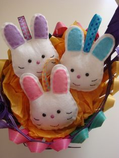 These 3 adorable Bunny Decorations make a sweet gift. Cute as buttons with pastel shades of Pink, Purple and Blue ears with co-ordinating