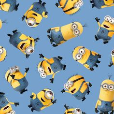 Minions Tossed on Blue from Quilting Treasures. Funny Minions in different poses tossed on a light blue background. This fabric is 44 inches wide and cotton. Minion Movie, Minion Party, Funny Minion, Funny Jokes, Blue Bob, Happy Birthday Minions, Happy Minions, Fabric Tree, Minion Banana