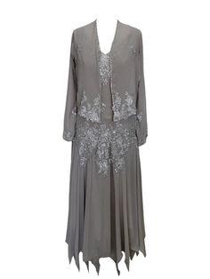 Asymmetry Hem Appliques Long Sleeves Tea-Length Mother of the Bride Dress