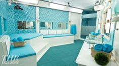 Big Brother 16 Bathroom Photos love the colors Big Bathrooms, Bathroom Photos, Big Brother Hoh, Big Brother Pictures, Blue Rooms, Big Houses, Luxury Living, New Homes, House Styles