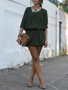Dark Green Long Sleeve Dress - Crystalline