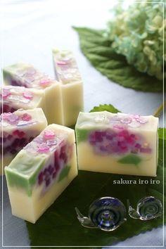 jabón de hortensia | color de Sakura iro Osaka Suita clase jabón hecho a mano