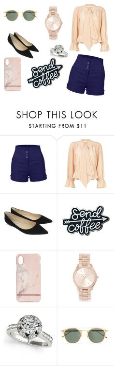 """""""Coffee Time"""" by selenameyer ❤ liked on Polyvore featuring LE3NO, Chloé, Jimmy Choo, Richmond & Finch, Michael Kors and Cartier"""