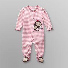 845bce1a51b9 Little Wonders- -Infant Girl's Footed Sleeper - Monkey-Baby-Baby &