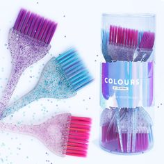 Colours by Colortrak Glitter Brushes Hair Color Brush, Hair Brush, Makeup Supplies, Hair Supplies, Caring For Colored Hair, Hot Tools Professional, Ramadan Crafts, Candy Necklaces, Salon Interior Design