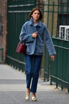 Alexa Chung Upgrades the Easter Basket with a STAUD bag in Bordeaux.