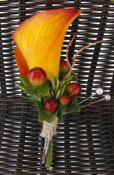 autumn boutonnieres | fall calla lily boutonniere
