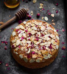 Honey Almond Cake - Easy Eggless Recipe Tasha's Artisan Foods Eggless Recipes, Almond Recipes, Cake Recipes, Almond Flour Cakes, Honey Almonds, Honey Syrup, Artisan Food, Coconut Yogurt, Plain Greek Yogurt