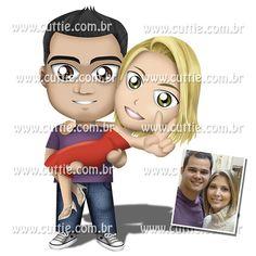 Caricatura para casamento - Noivado Barbara e Leonardo - namorados cuttie